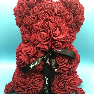 """""""Just For You"""" Red Teddy Bear Rose Flower"""